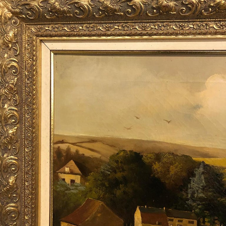 Hand-Painted 19th Century Framed Oil Painting on Canvas by Alfred Bastin For Sale
