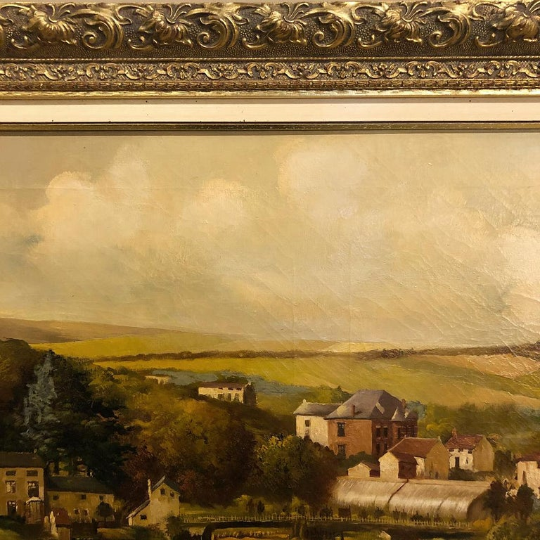 19th Century Framed Oil Painting on Canvas by Alfred Bastin In Good Condition For Sale In Dallas, TX