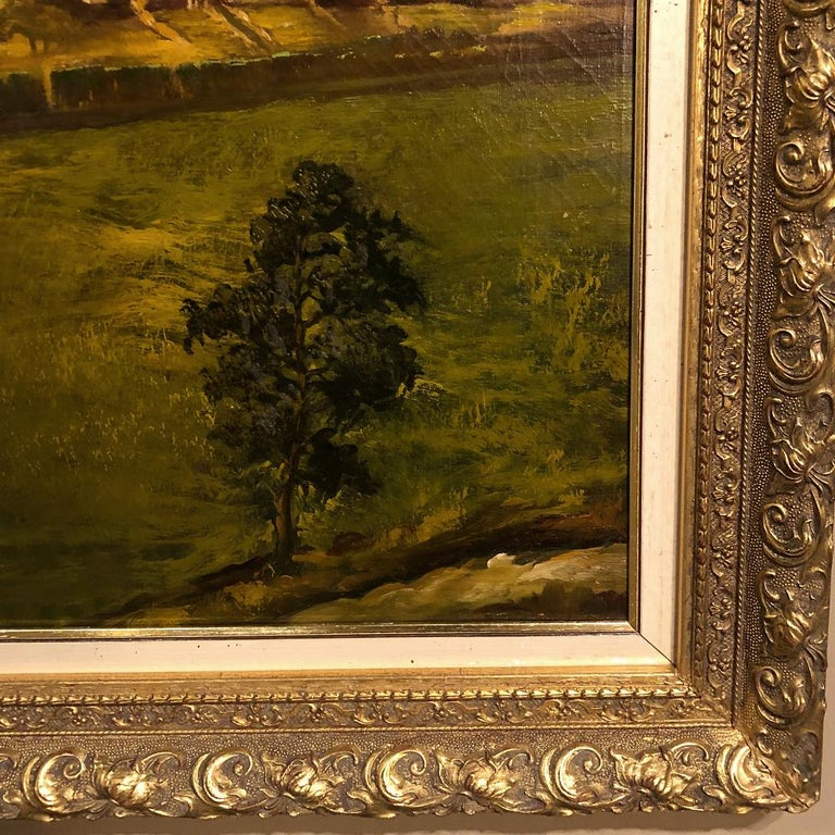 19th Century Framed Oil Painting on Canvas by Alfred Bastin For Sale 1