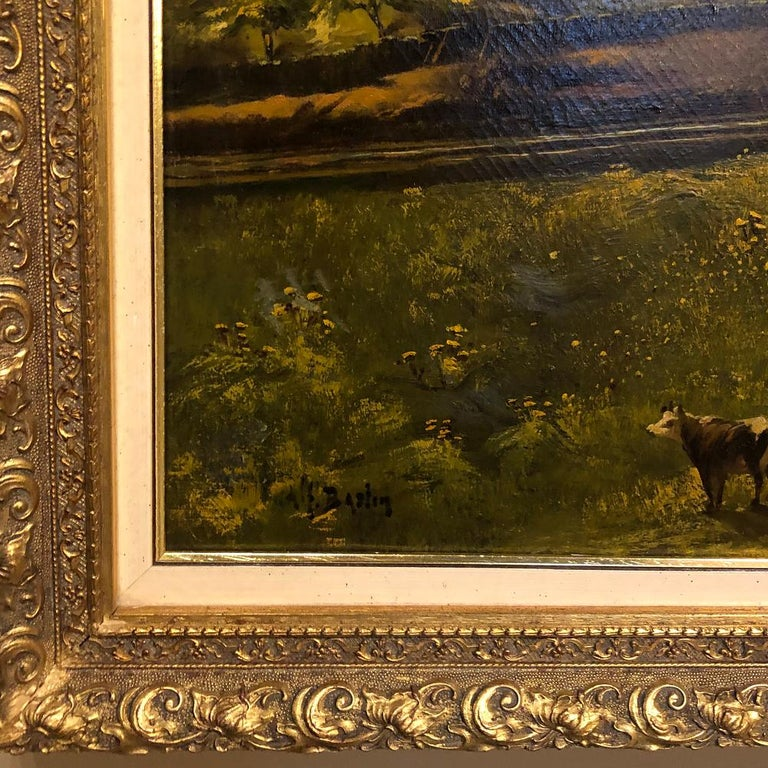 19th Century Framed Oil Painting on Canvas by Alfred Bastin For Sale 2