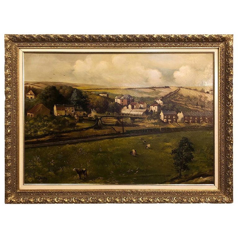 19th Century Framed Oil Painting on Canvas by Alfred Bastin For Sale