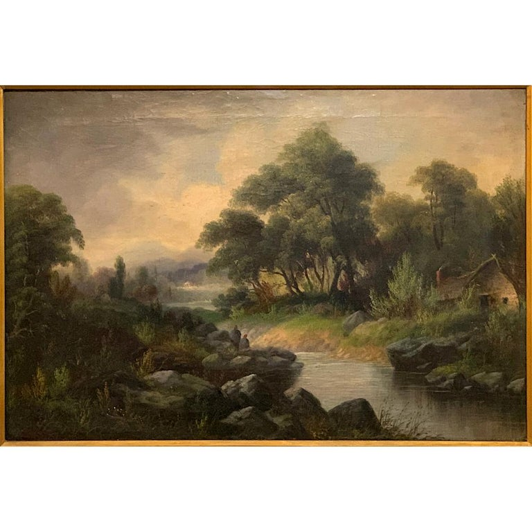 Romantic 19th Century Framed Oil Painting on Canvas by H. Brooks For Sale