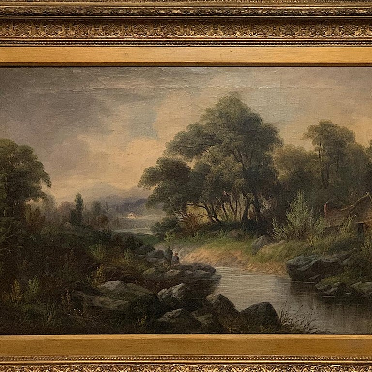 English 19th Century Framed Oil Painting on Canvas by H. Brooks For Sale