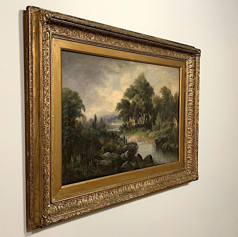 Hand-Painted 19th Century Framed Oil Painting on Canvas by H. Brooks For Sale