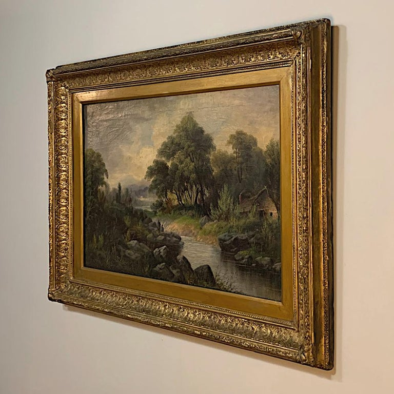 19th Century Framed Oil Painting on Canvas by H. Brooks In Good Condition For Sale In Dallas, TX