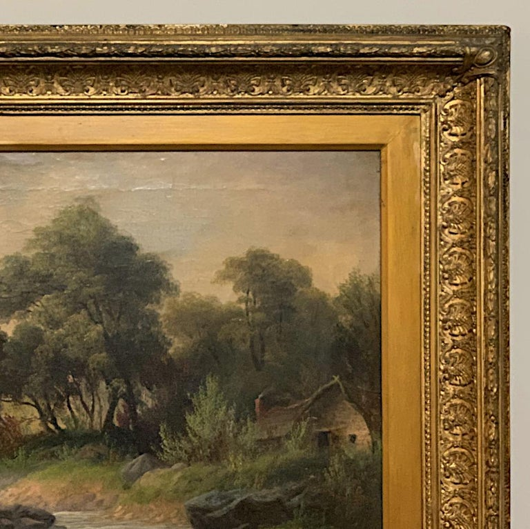 19th Century Framed Oil Painting on Canvas by H. Brooks For Sale 3