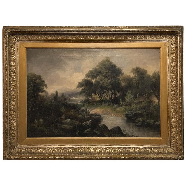 19th Century Framed Oil Painting on Canvas by H. Brooks For Sale