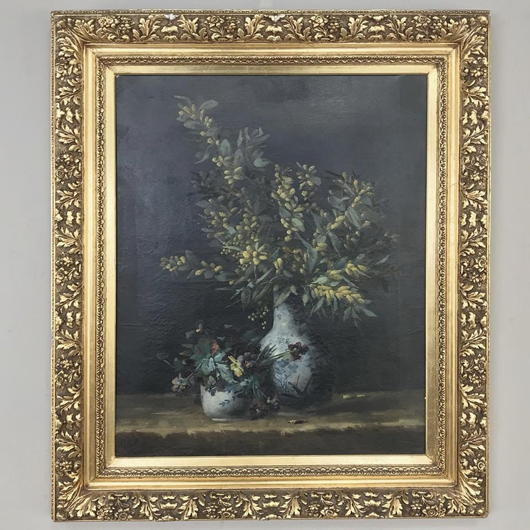 Belle Époque 19th Century Framed Oil Painting on Canvas by Hellens For Sale