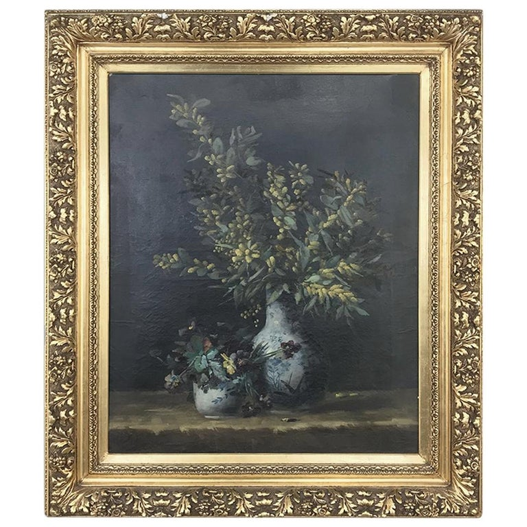 19th Century Framed Oil Painting on Canvas by Hellens For Sale