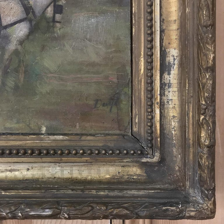 19th Century Framed Oil Painting on Canvas For Sale 3