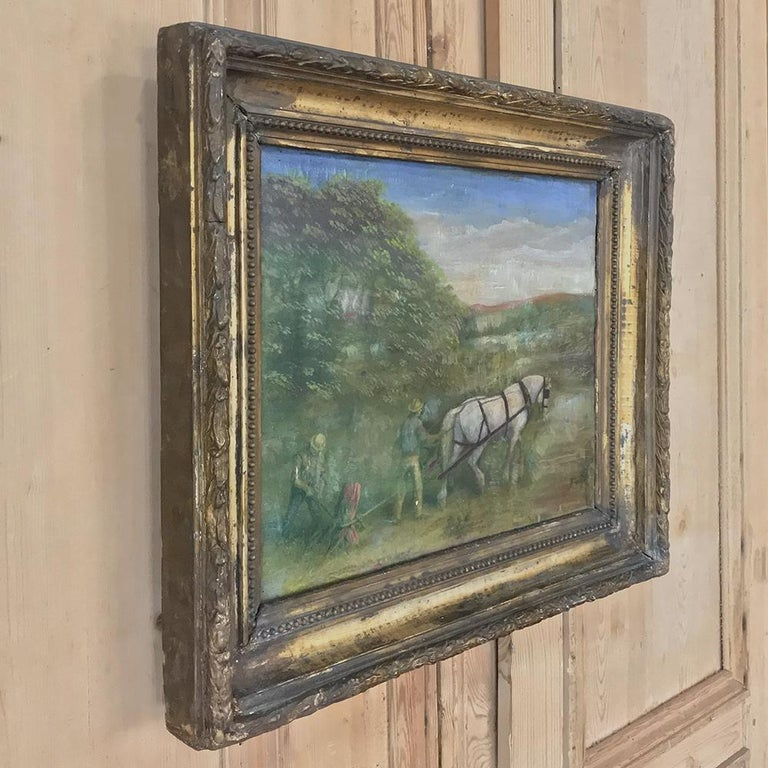 Rustic 19th Century Framed Oil Painting on Canvas For Sale