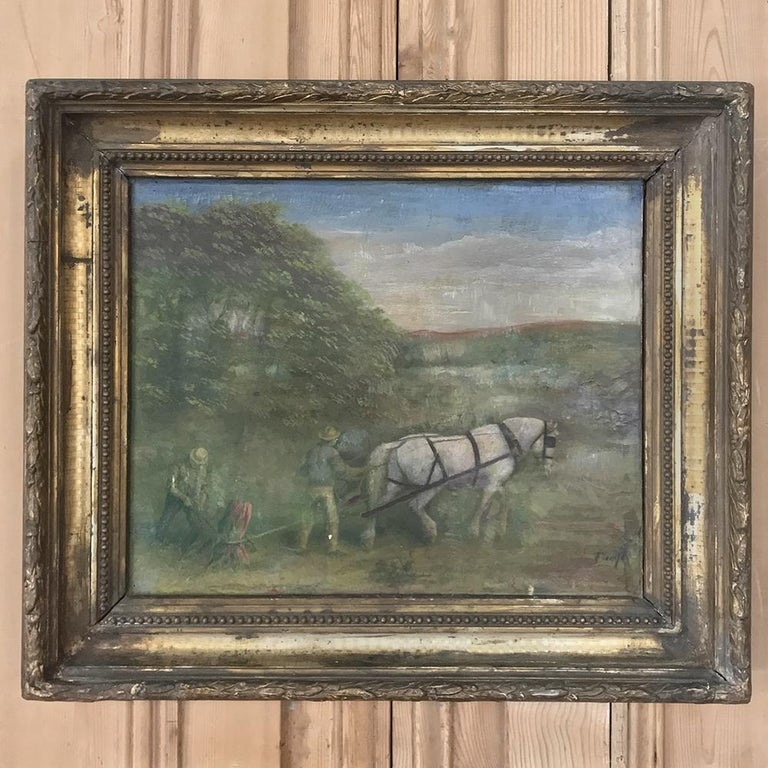 Belgian 19th Century Framed Oil Painting on Canvas For Sale