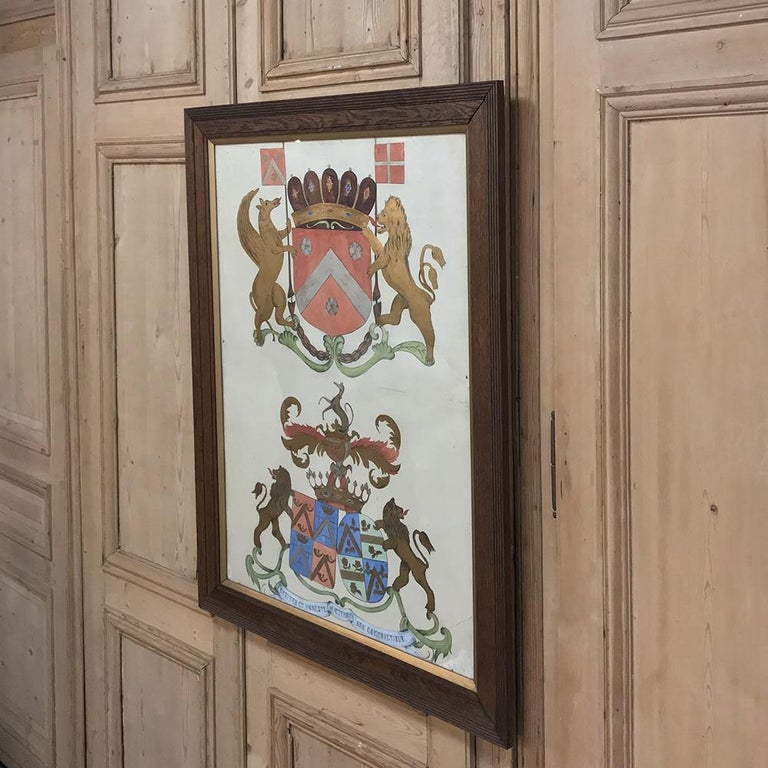 19th Century Framed Hand Painted Painting of Family Crests
