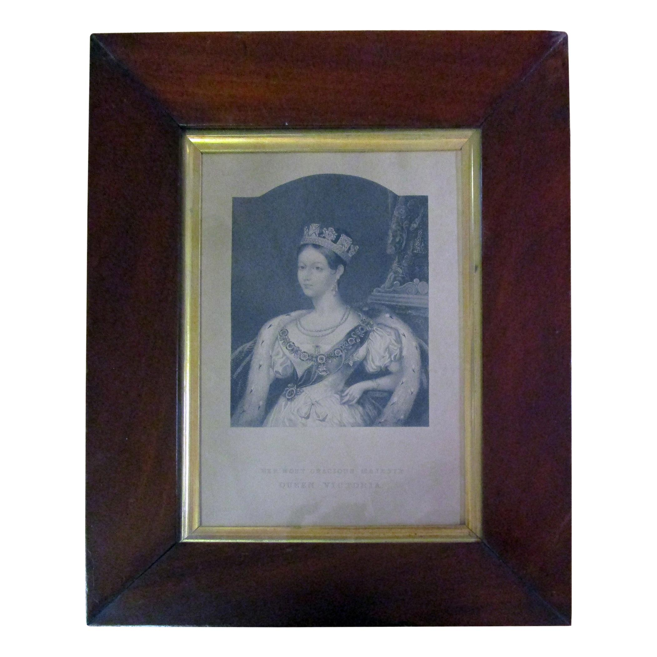 19th Century Framed Queen Victoria Etching Her Most Gracious Majesty