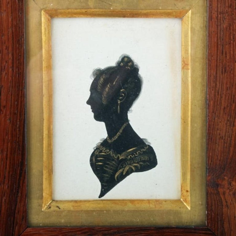 European 19th Century Framed Silhouette For Sale