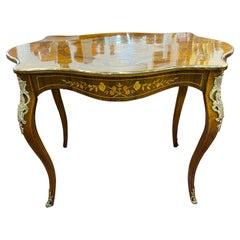 19th Century France Louis XV Revival Walnut Writing Desk Table Inlay Bronze,1890