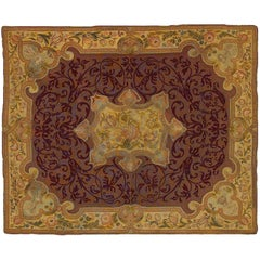 19th Century France Needle Point Hand-Knotted Wool and Silk Red Gold Tapestry
