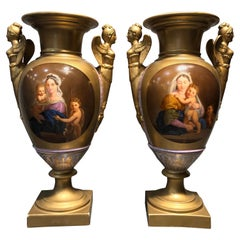 19th Century France Pair of Porcelain Vases Hand Painted, 1840s