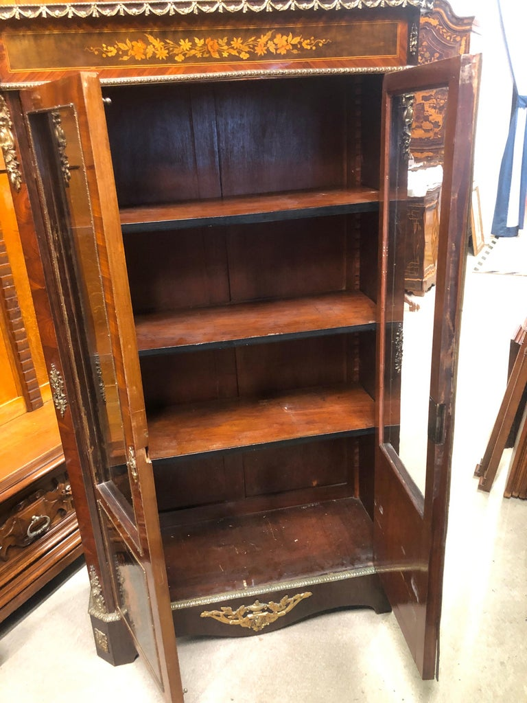 19th Century France Wood Napoleon III Kingwood Rosewood Marquetry Cabinet, 1850s For Sale 8