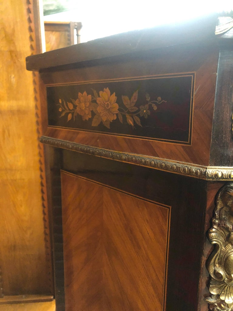 Mid-19th Century 19th Century France Wood Napoleon III Kingwood Rosewood Marquetry Cabinet, 1850s For Sale