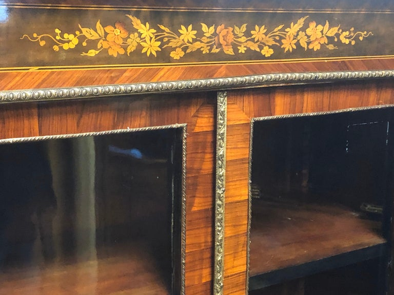 19th Century France Wood Napoleon III Kingwood Rosewood Marquetry Cabinet, 1850s For Sale 1