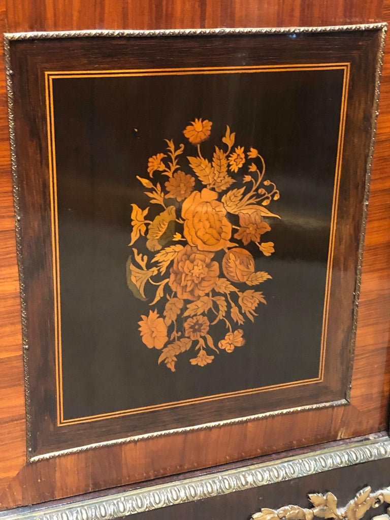 19th Century France Wood Napoleon III Kingwood Rosewood Marquetry Cabinet, 1850s For Sale 2