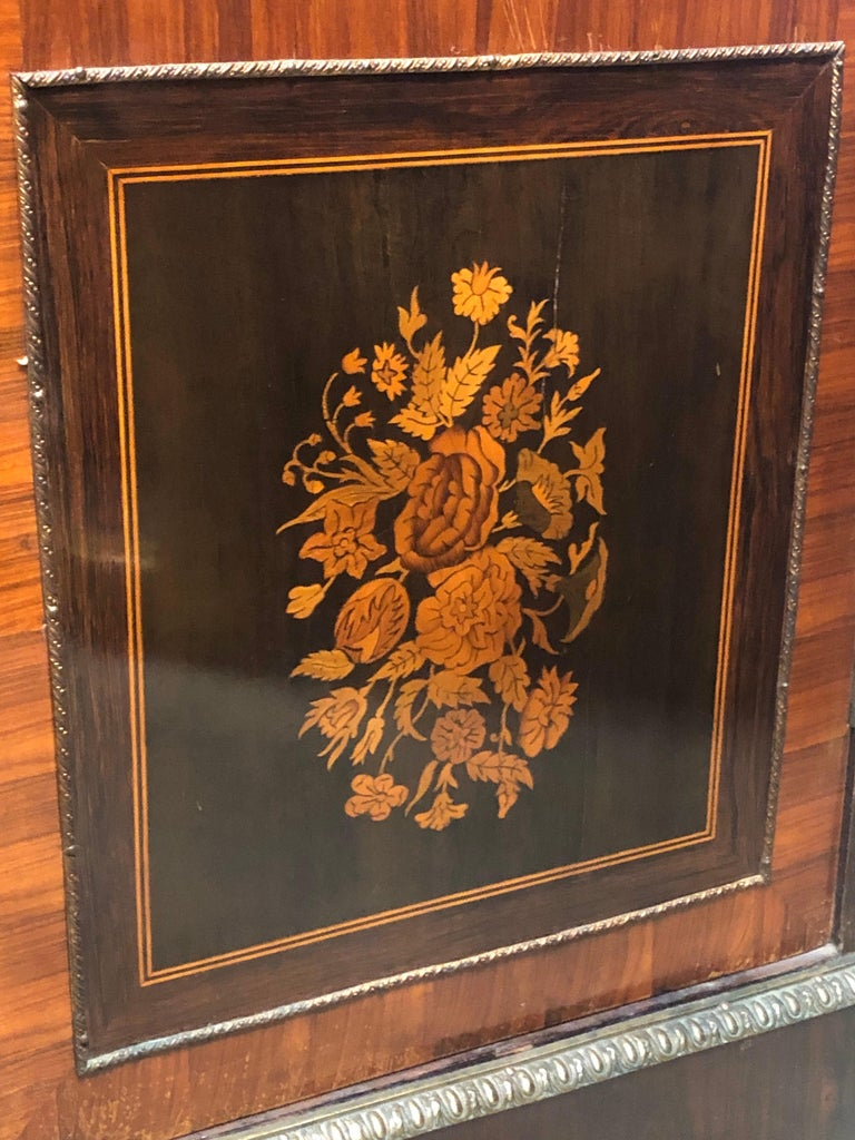 19th Century France Wood Napoleon III Kingwood Rosewood Marquetry Cabinet, 1850s For Sale 3
