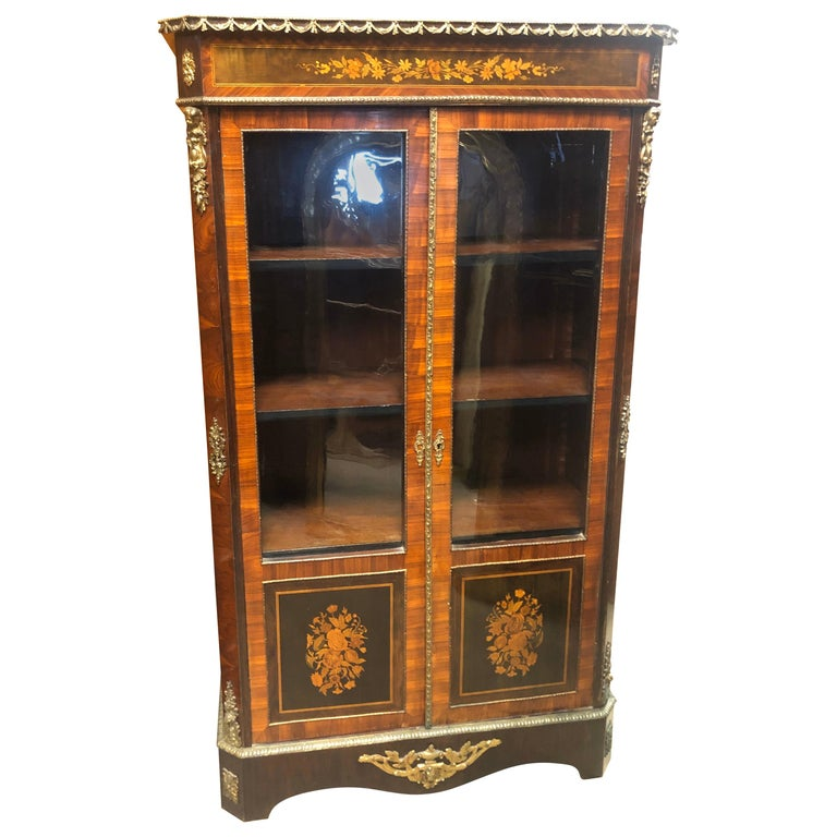 19th Century France Wood Napoleon III Kingwood Rosewood Marquetry Cabinet, 1850s For Sale