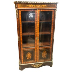 19th Century France Wood Napoleon III Kingwood Rosewood Marquetry Cabinet 1850s