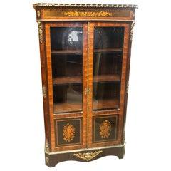 19th Century France Wood Napoleon III Kingwood Rosewood Marquetry Cabinet 1850s