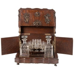 19th Century Franch Oak and Crystal Liqueur Chest