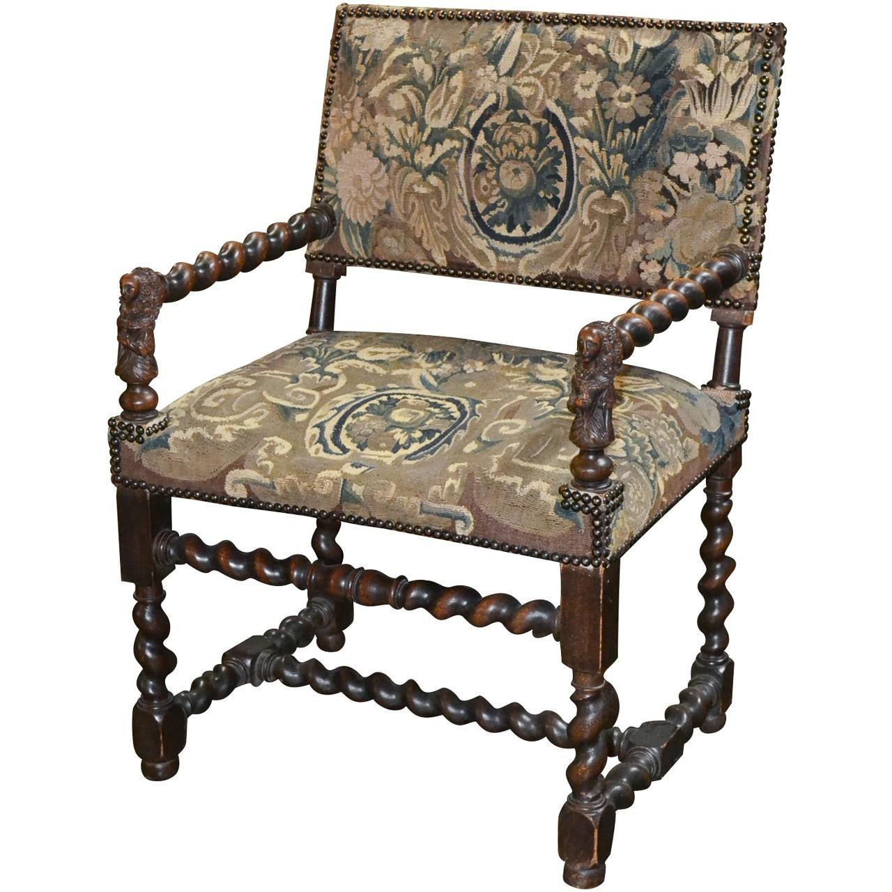 19th Century Franco Flemish Baroque Armchair