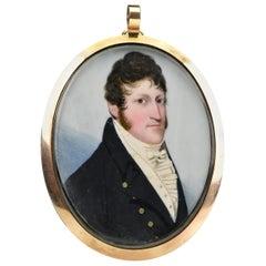 19th Century Frederick Buck Irish Miniature Portrait Painting in Mourning Frame