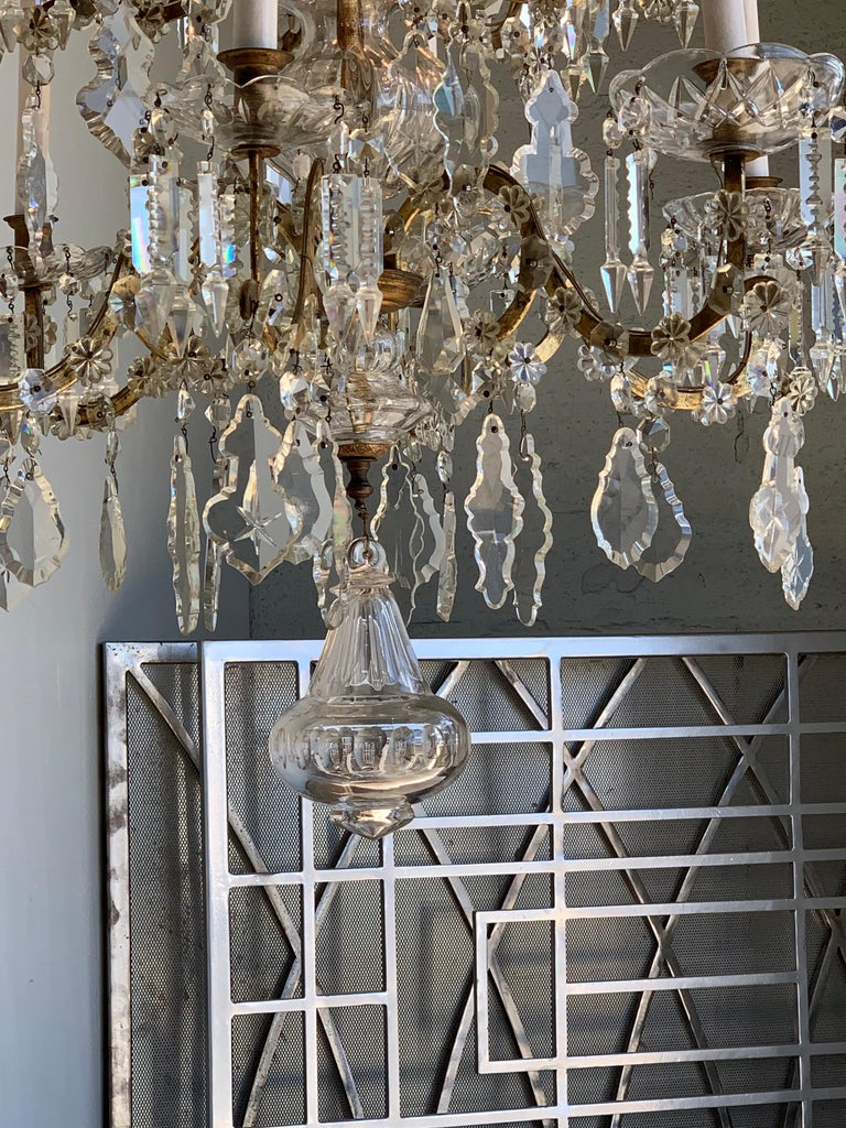 19th Century French 12-Light Crystal Chandelier In Good Condition For Sale In Dallas, TX