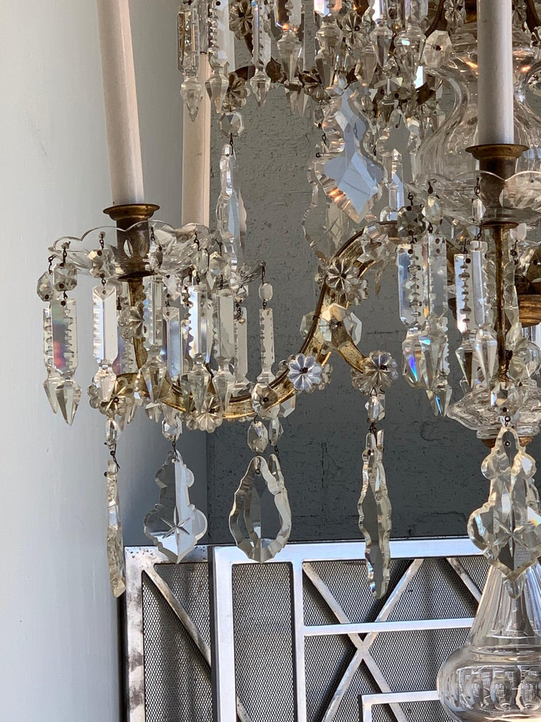 19th Century French 12-Light Crystal Chandelier For Sale 2