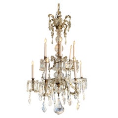 19th Century French 12-Light Crystal Chandelier
