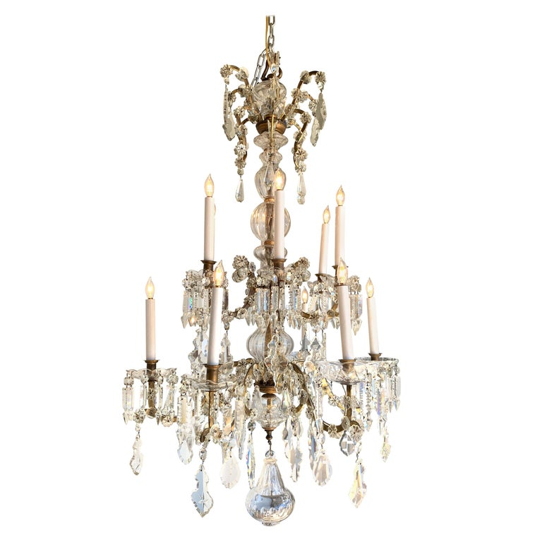 19th Century French 12-Light Crystal Chandelier For Sale
