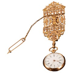 19th Century French 14-Karat Yellow Gold Lapel Watch