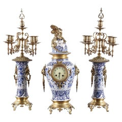 19th Century French 3-Piece Porcelain Garniture Clock Set
