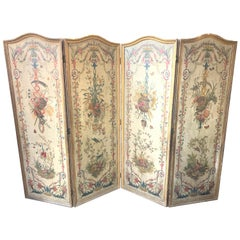 19th Century French 4-Panel Painted Wood Panel Screen in Giltwood Frames