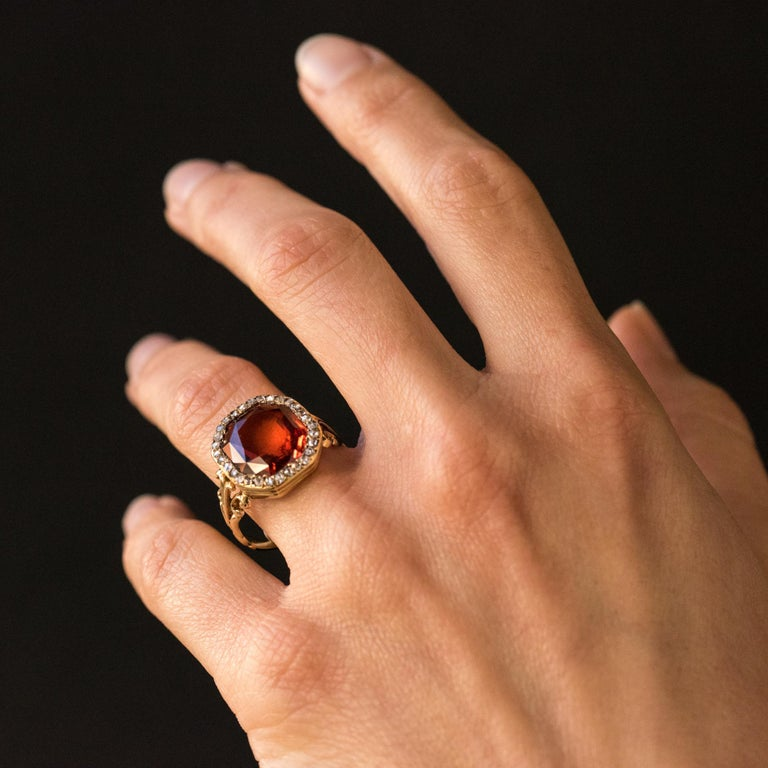 19th Century French 6.20 Carat Hessonite Garnet Rose Cut Diamonds Antique Ring For Sale 5