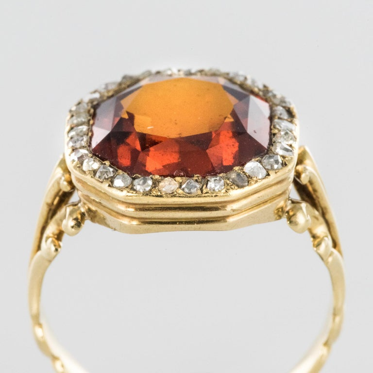 19th Century French 6.20 Carat Hessonite Garnet Rose Cut Diamonds Antique Ring For Sale 6