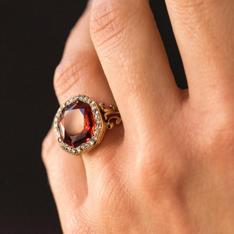 19th Century French 6.20 Carat Hessonite Garnet Rose Cut Diamonds Antique Ring For Sale 7