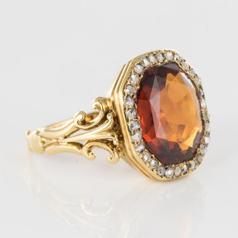 19th Century French 6.20 Carat Hessonite Garnet Rose Cut Diamonds Antique Ring For Sale 10