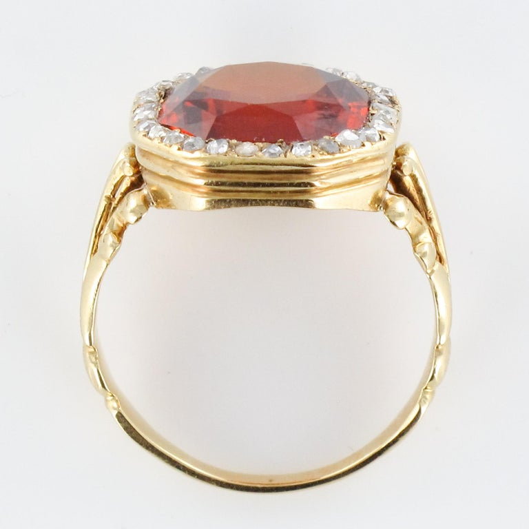 19th Century French 6.20 Carat Hessonite Garnet Rose Cut Diamonds Antique Ring For Sale 11