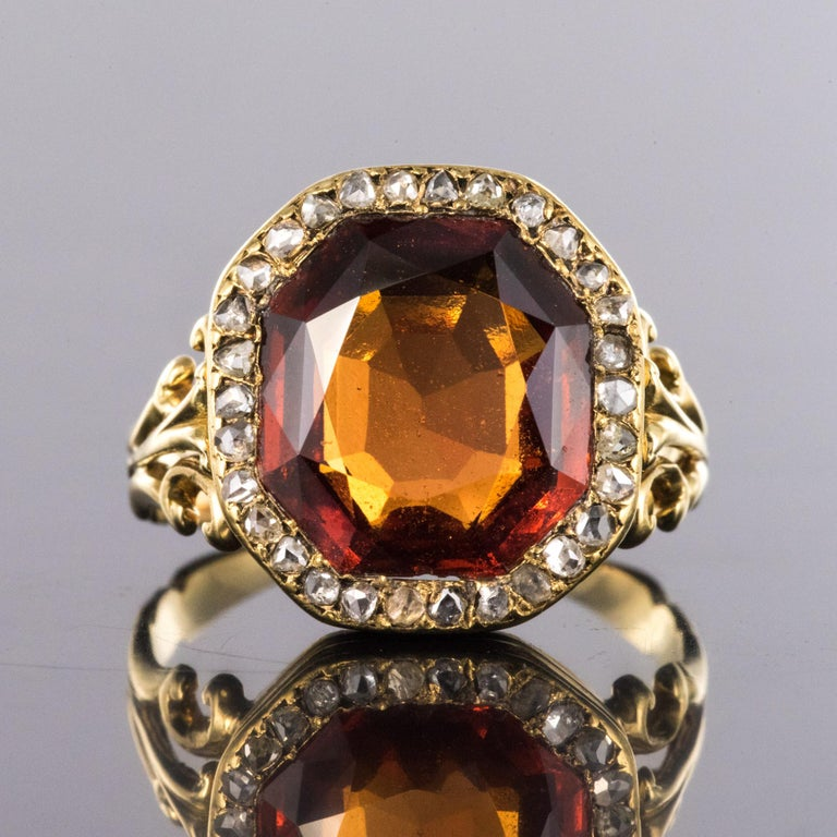 Napoleon III 19th Century French 6.20 Carat Hessonite Garnet Rose Cut Diamonds Antique Ring For Sale