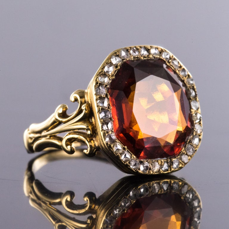 Women's 19th Century French 6.20 Carat Hessonite Garnet Rose Cut Diamonds Antique Ring For Sale