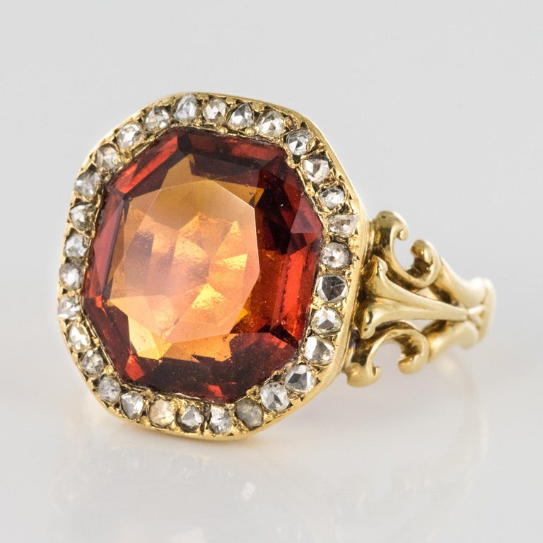 19th Century French 6.20 Carat Hessonite Garnet Rose Cut Diamonds Antique Ring For Sale 2