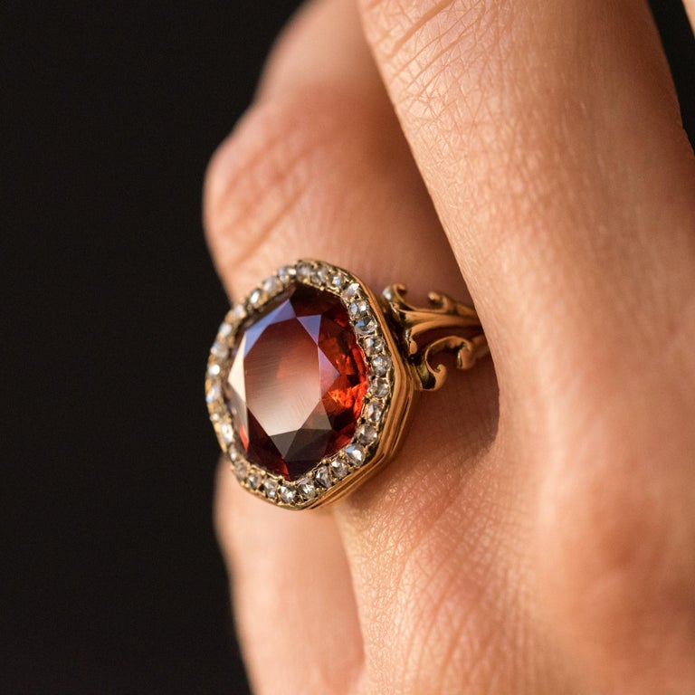 19th Century French 6.20 Carat Hessonite Garnet Rose Cut Diamonds Antique Ring For Sale 3