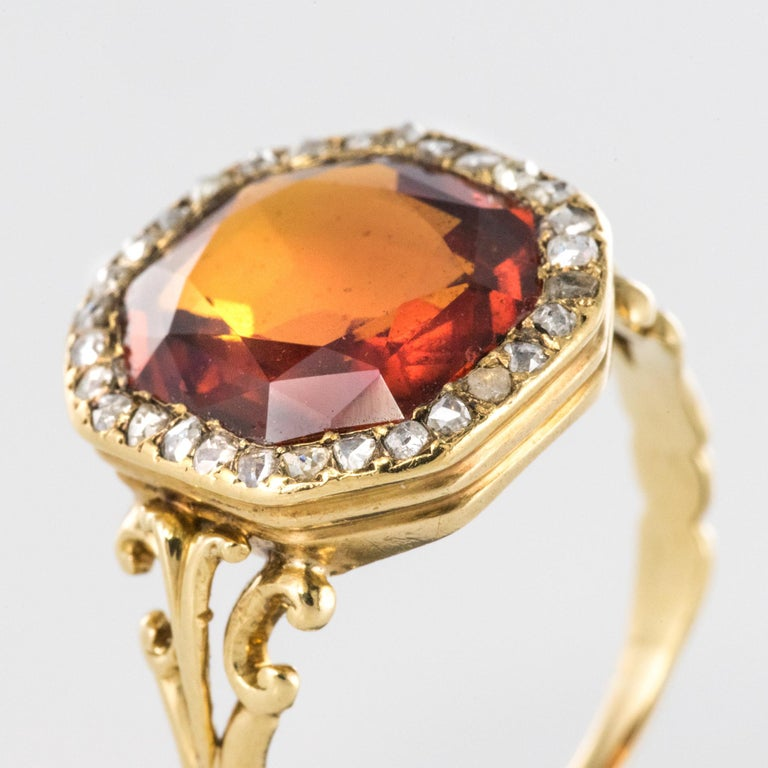 19th Century French 6.20 Carat Hessonite Garnet Rose Cut Diamonds Antique Ring For Sale 4